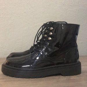 NWOT Combat Boots Faux Patent Leather